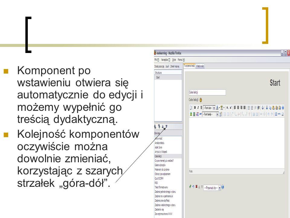 Komponent po wstawieniu otwiera się automatycznie do edycji i możemy wypełnić go treścią dydaktyczną.