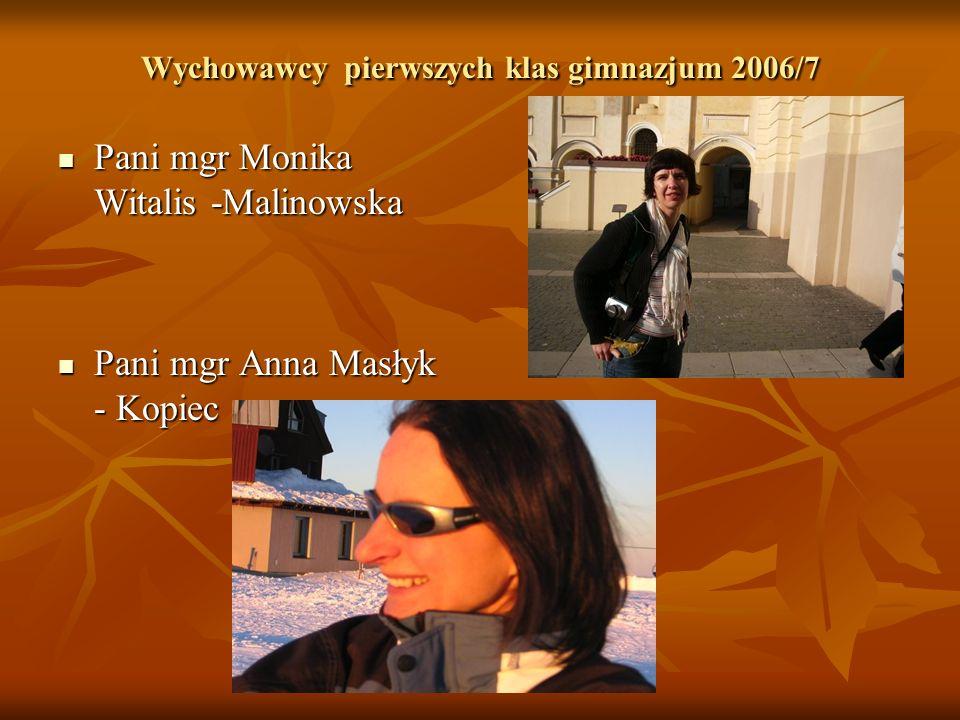 Wychowawcy pierwszych klas gimnazjum 2006/7 Pani mgr Monika Witalis -Malinowska Pani mgr Monika Witalis -Malinowska Pani mgr Anna Masłyk - Kopiec Pani