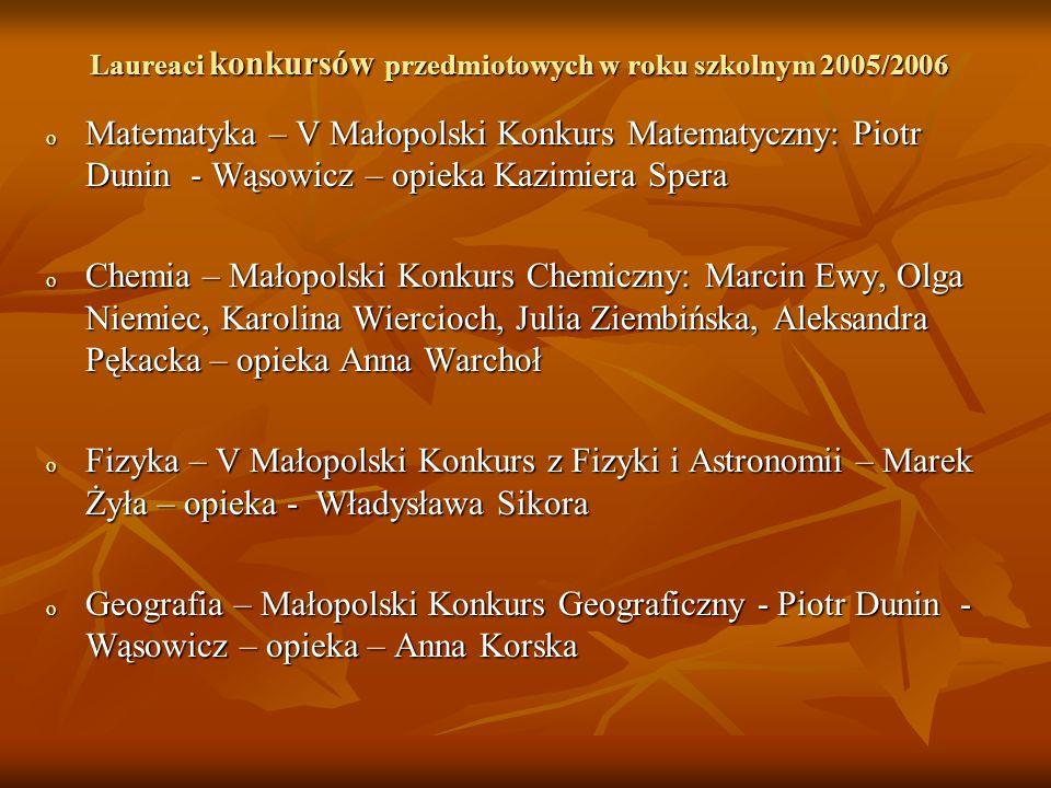 Laureaci konkursów przedmiotowych w roku szkolnym 2005/2006 o Matematyka – V Małopolski Konkurs Matematyczny: Piotr Dunin - Wąsowicz – opieka Kazimier