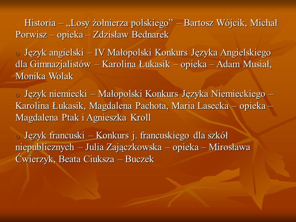 Historia – Losy żołnierza polskiego – Bartosz Wójcik, Michał Porwisz – opieka – Zdzisław Bednarek o Historia – Losy żołnierza polskiego – Bartosz Wójc