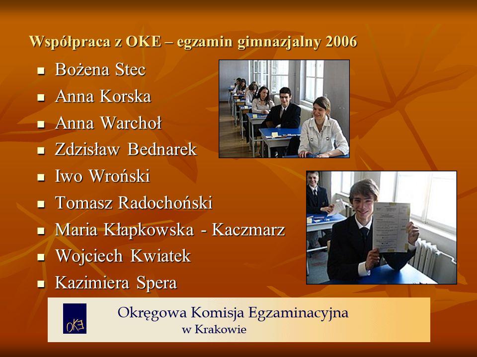 Współpraca z OKE – egzamin gimnazjalny 2006 Współpraca z OKE – egzamin gimnazjalny 2006 Bożena Stec Bożena Stec Anna Korska Anna Korska Anna Warchoł A