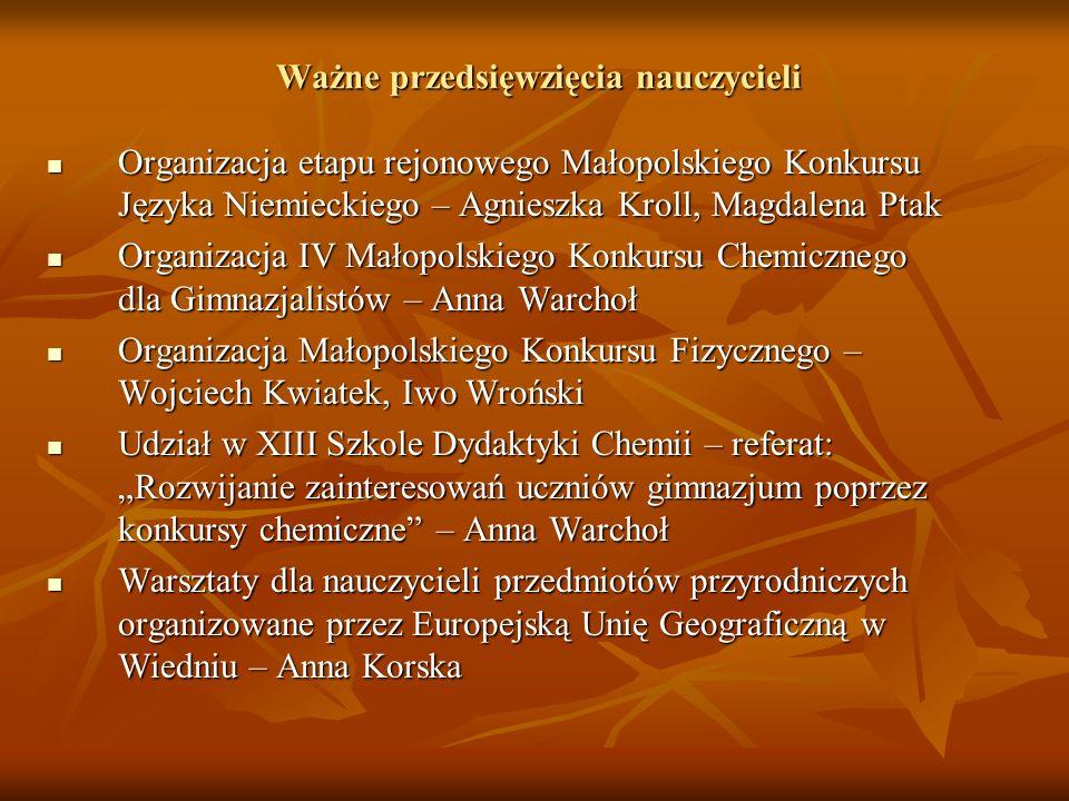 Ważne przedsięwzięcia nauczycieli Organizacja etapu rejonowego Małopolskiego Konkursu Języka Niemieckiego – Agnieszka Kroll, Magdalena Ptak Organizacj