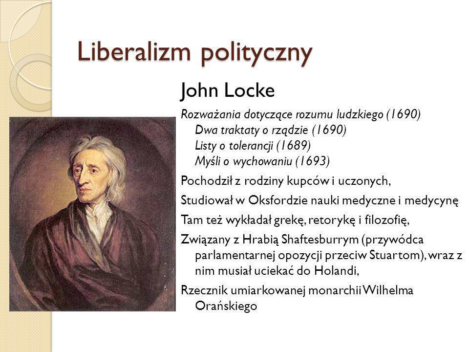 Liberalizm polityczny John Locke Rozważania dotyczące rozumu ludzkiego (1690) Dwa traktaty o rządzie (1690) Listy o tolerancji (1689) Myśli o wychowan