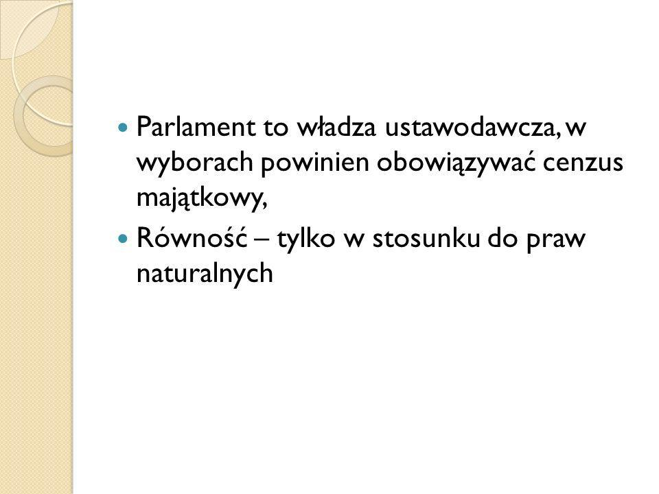 Parlament to władza ustawodawcza, w wyborach powinien obowiązywać cenzus majątkowy, Równość – tylko w stosunku do praw naturalnych
