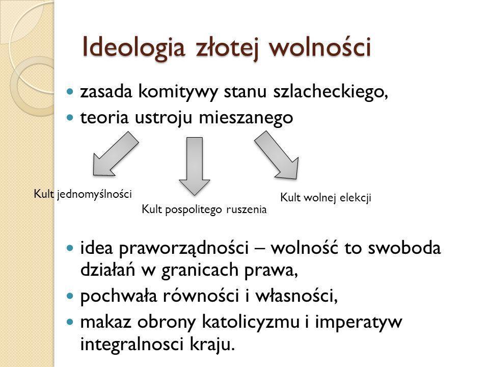 Ideologia złotej wolności zasada komitywy stanu szlacheckiego, teoria ustroju mieszanego idea praworządności – wolność to swoboda działań w granicach