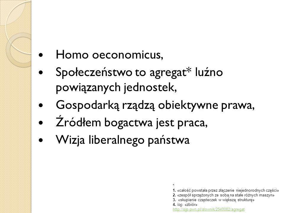 Homo oeconomicus, Społeczeństwo to agregat* luźno powiązanych jednostek, Gospodarką rządzą obiektywne prawa, Źródłem bogactwa jest praca, Wizja libera
