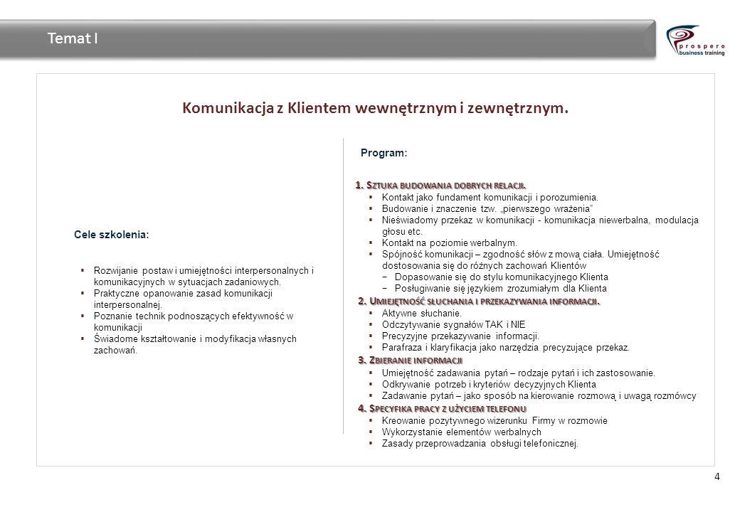 Komunikacja z Klientem wewnętrznym i zewnętrznym. 4 Temat I Cele szkolenia: Rozwijanie postaw i umiejętności interpersonalnych i komunikacyjnych w syt