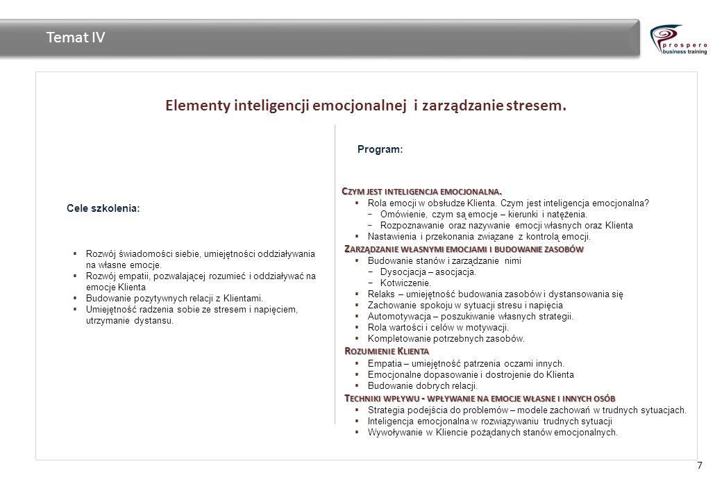 Elementy inteligencji emocjonalnej i zarządzanie stresem. 7 Temat IV Cele szkolenia: Rozwój świadomości siebie, umiejętności oddziaływania na własne e