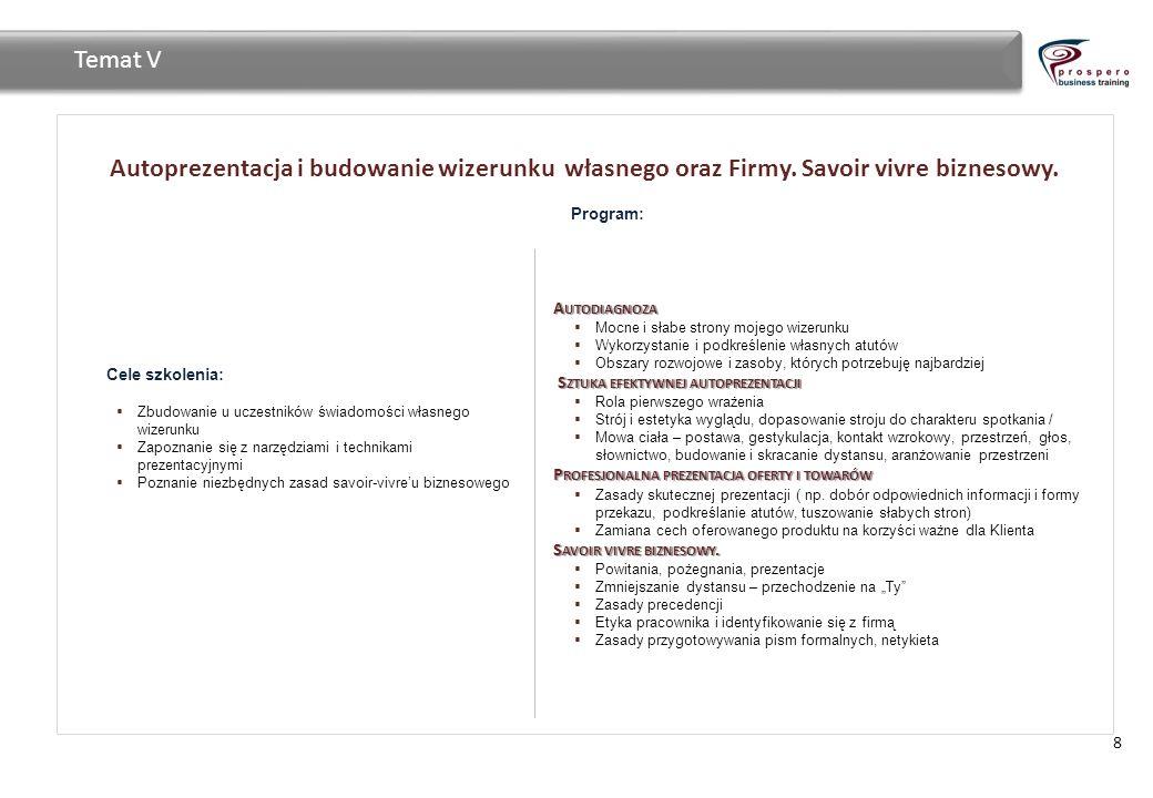 Autoprezentacja i budowanie wizerunku własnego oraz Firmy. Savoir vivre biznesowy. 8 Temat V Cele szkolenia: Zbudowanie u uczestników świadomości włas