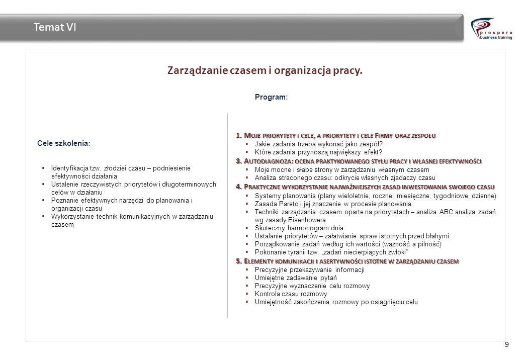 Zarządzanie czasem i organizacja pracy. 9 Temat VI Cele szkolenia: Identyfikacja tzw. złodziei czasu – podniesienie efektywności działania Ustalenie r