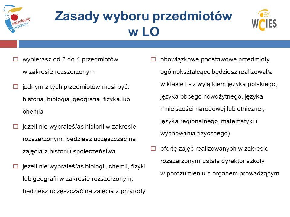 Zasady wyboru przedmiotów w LO wybierasz od 2 do 4 przedmiotów w zakresie rozszerzonym jednym z tych przedmiotów musi być: historia, biologia, geograf