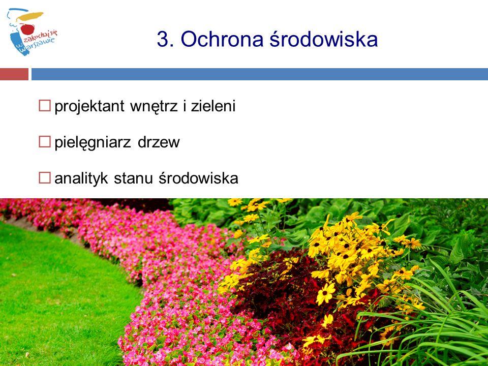 projektant wnętrz i zieleni pielęgniarz drzew analityk stanu środowiska 3. Ochrona środowiska