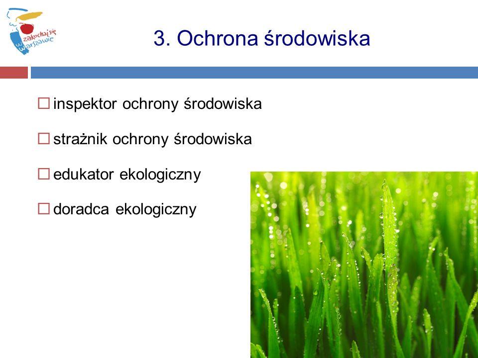 inspektor ochrony środowiska strażnik ochrony środowiska edukator ekologiczny doradca ekologiczny 3. Ochrona środowiska