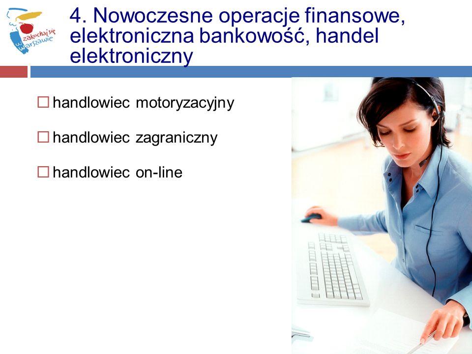 handlowiec motoryzacyjny handlowiec zagraniczny handlowiec on-line 4. Nowoczesne operacje finansowe, elektroniczna bankowość, handel elektroniczny