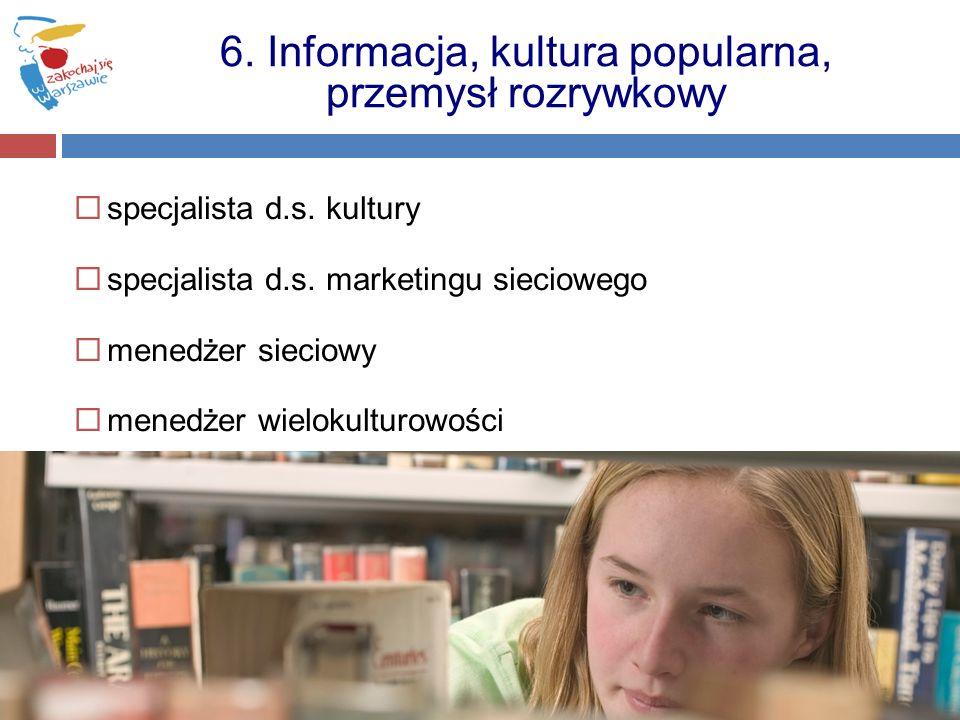 specjalista d.s. kultury specjalista d.s. marketingu sieciowego menedżer sieciowy menedżer wielokulturowości 6. Informacja, kultura popularna, przemys