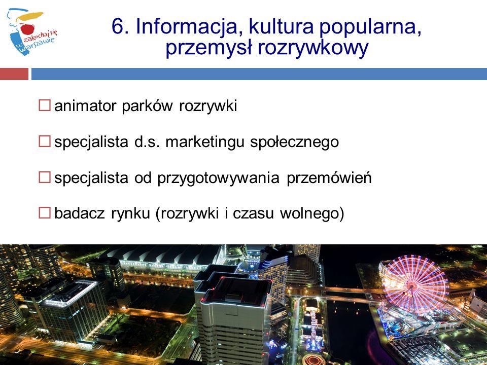 animator parków rozrywki specjalista d.s. marketingu społecznego specjalista od przygotowywania przemówień badacz rynku (rozrywki i czasu wolnego) 6.