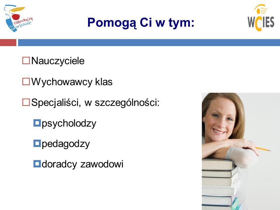 Pomogą Ci w tym: Nauczyciele Wychowawcy klas Specjaliści, w szczególności: psycholodzy pedagodzy doradcy zawodowi