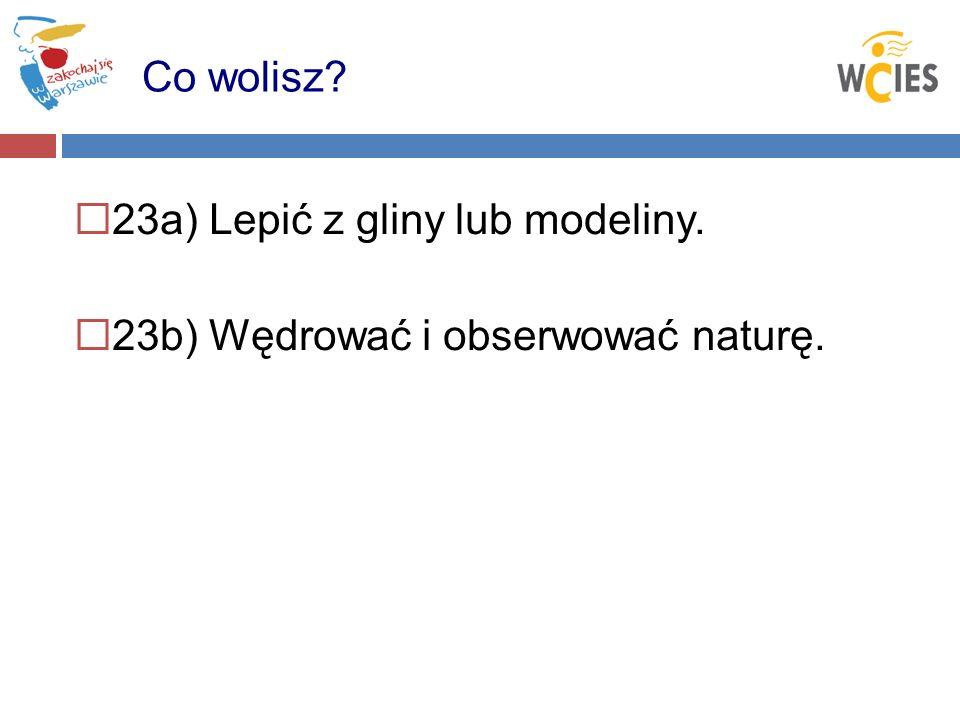 23a) Lepić z gliny lub modeliny. 23b) Wędrować i obserwować naturę. Co wolisz?