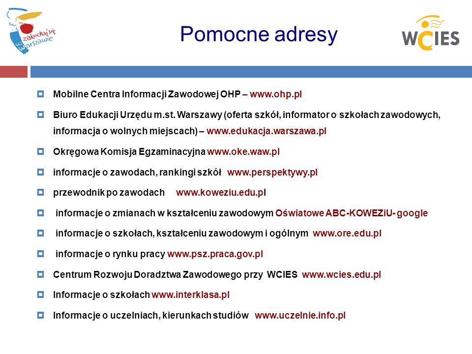 Mobilne Centra Informacji Zawodowej OHP – www.ohp.pl Biuro Edukacji Urzędu m.st. Warszawy (oferta szkół, informator o szkołach zawodowych, informacja