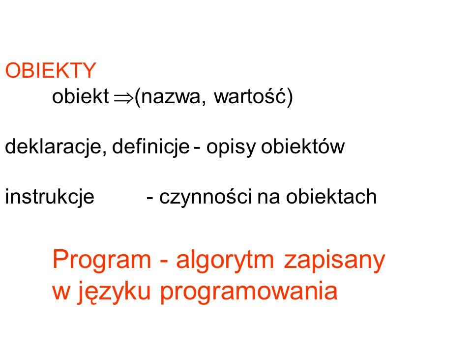 OBIEKTY obiekt (nazwa, wartość) deklaracje, definicje- opisy obiektów instrukcje - czynności na obiektach Program - algorytm zapisany w języku program