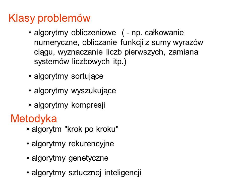 Metodyka algorytmy obliczeniowe ( - np. całkowanie numeryczne, obliczanie funkcji z sumy wyrazów ciągu, wyznaczanie liczb pierwszych, zamiana systemów