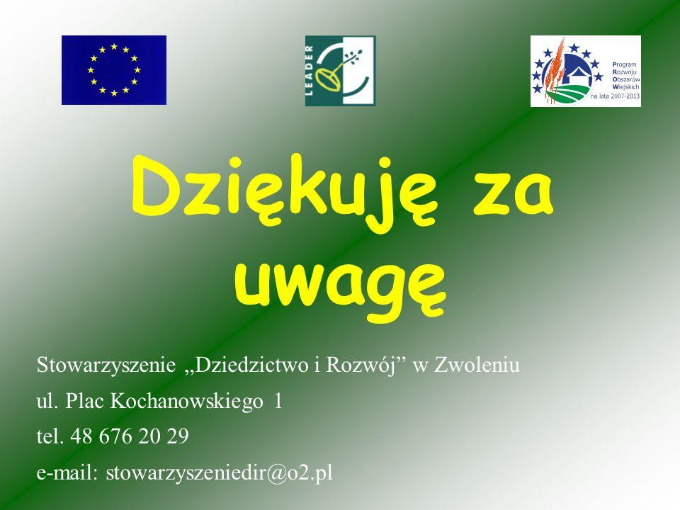 Dziękuję za uwagę Stowarzyszenie Dziedzictwo i Rozwój w Zwoleniu ul.