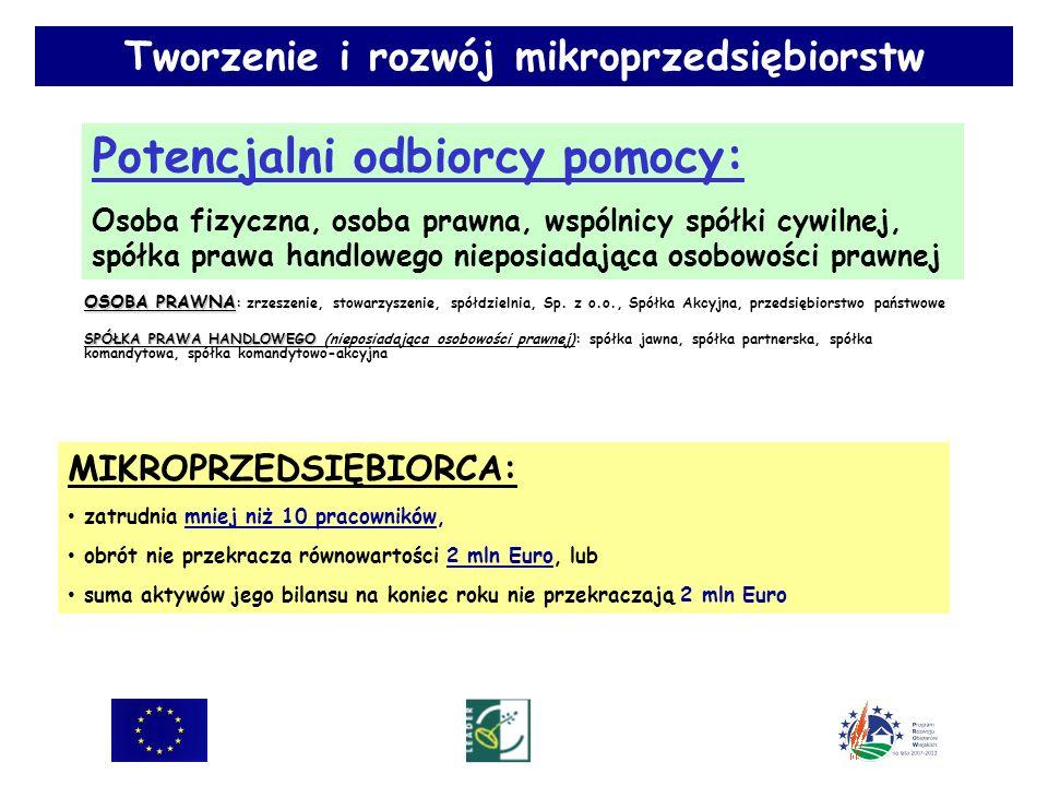 Potencjalni odbiorcy pomocy: Osoba fizyczna, osoba prawna, wspólnicy spółki cywilnej, spółka prawa handlowego nieposiadająca osobowości prawnej Tworzenie i rozwój mikroprzedsiębiorstw MIKROPRZEDSIĘBIORCA: zatrudnia mniej niż 10 pracowników, obrót nie przekracza równowartości 2 mln Euro, lub suma aktywów jego bilansu na koniec roku nie przekraczają 2 mln Euro OSOBA PRAWNA OSOBA PRAWNA : zrzeszenie, stowarzyszenie, spółdzielnia, Sp.