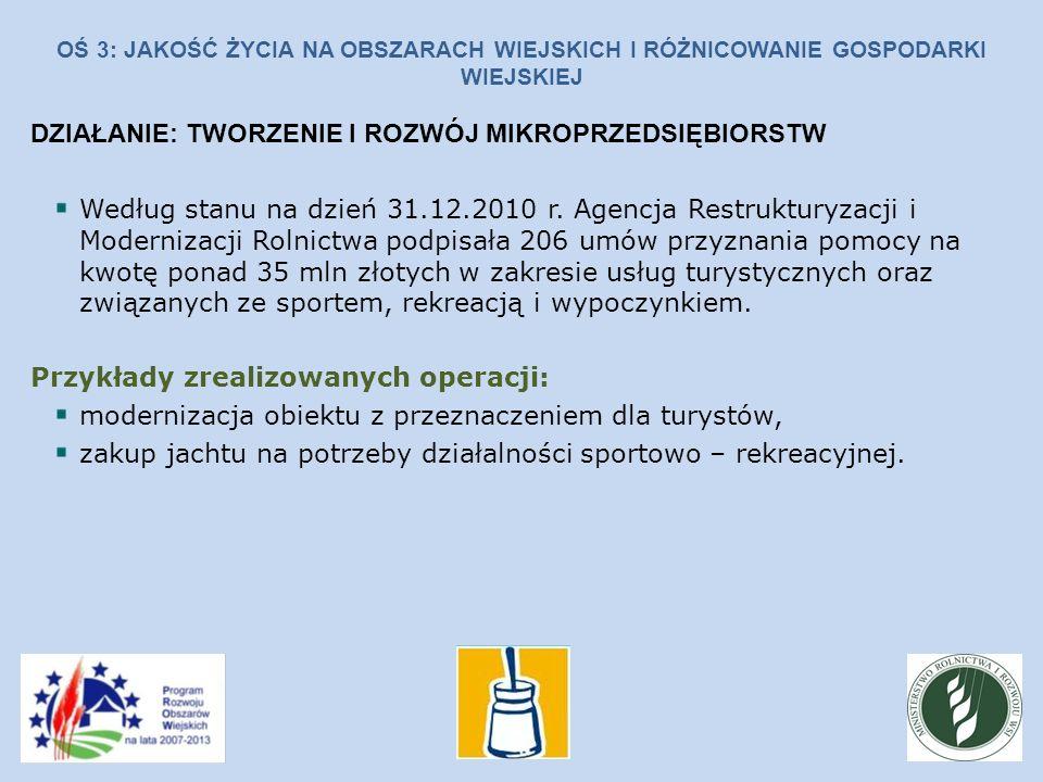 OŚ 3: JAKOŚĆ ŻYCIA NA OBSZARACH WIEJSKICH I RÓŻNICOWANIE GOSPODARKI WIEJSKIEJ DZIAŁANIE: TWORZENIE I ROZWÓJ MIKROPRZEDSIĘBIORSTW Według stanu na dzień 31.12.2010 r.