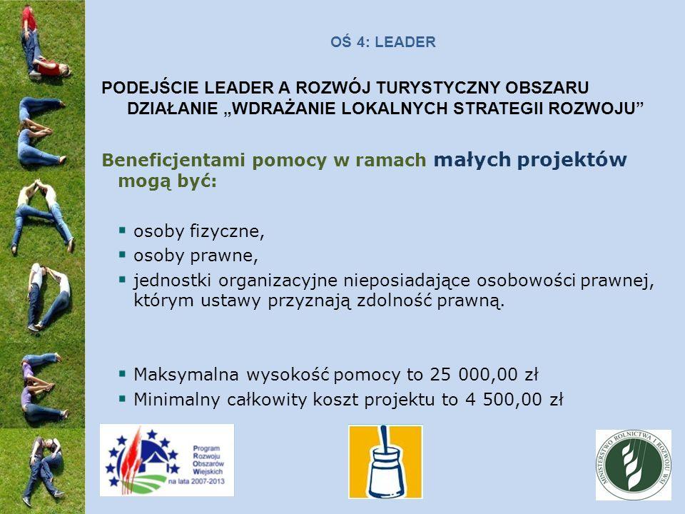 OŚ 4: LEADER PODEJŚCIE LEADER A ROZWÓJ TURYSTYCZNY OBSZARU DZIAŁANIE WDRAŻANIE LOKALNYCH STRATEGII ROZWOJU Beneficjentami pomocy w ramach małych projektów mogą być: osoby fizyczne, osoby prawne, jednostki organizacyjne nieposiadające osobowości prawnej, którym ustawy przyznają zdolność prawną.