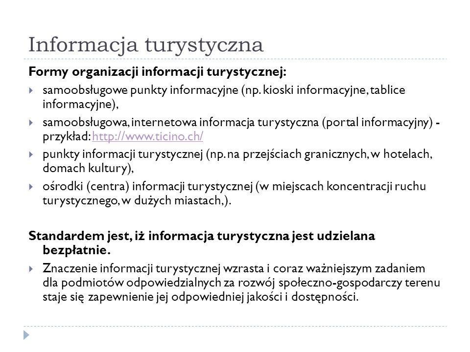 Informacja turystyczna Formy organizacji informacji turystycznej: samoobsługowe punkty informacyjne (np. kioski informacyjne, tablice informacyjne), s