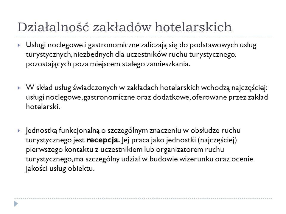 Działalność zakładów hotelarskich Usługi noclegowe i gastronomiczne zaliczają się do podstawowych usług turystycznych, niezbędnych dla uczestników ruc