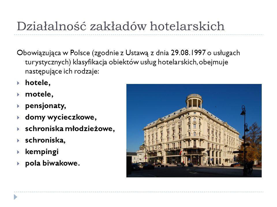 Działalność zakładów hotelarskich Obowiązująca w Polsce (zgodnie z Ustawą z dnia 29.08.1997 o usługach turystycznych) klasyfikacja obiektów usług hote