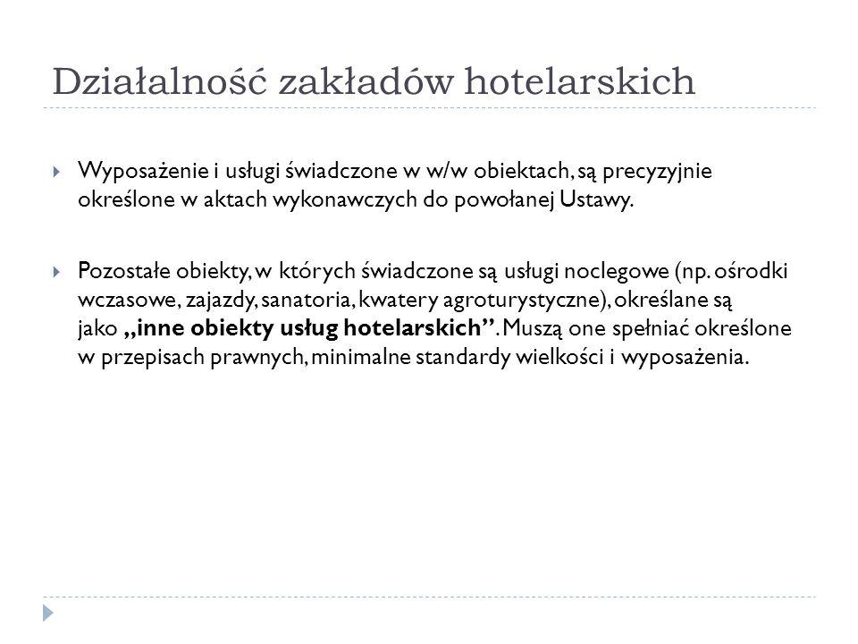 Działalność zakładów hotelarskich Wyposażenie i usługi świadczone w w/w obiektach, są precyzyjnie określone w aktach wykonawczych do powołanej Ustawy.