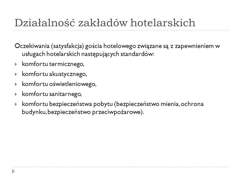 Działalność zakładów hotelarskich Oczekiwania (satysfakcja) gościa hotelowego związane są z zapewnieniem w usługach hotelarskich następujących standar