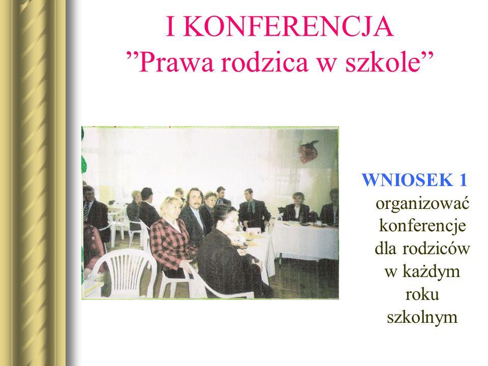 I KONFERENCJAPrawa rodzica w szkole WNIOSEK 1 organizować konferencje dla rodziców w każdym roku szkolnym
