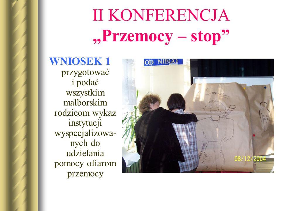 II KONFERENCJA Przemocy – stop WNIOSEK 1 przygotować i podać wszystkim malborskim rodzicom wykaz instytucji wyspecjalizowa- nych do udzielania pomocy ofiarom przemocy