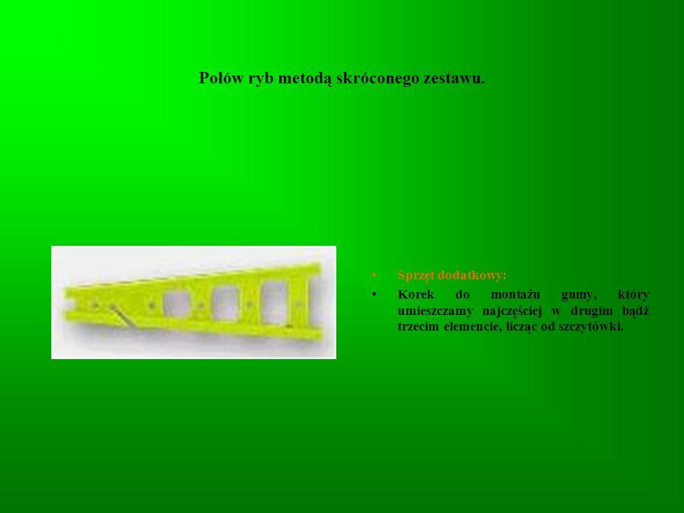 Połów ryb metodą skróconego zestawu. Sprzęt dodatkowy: Korek do montażu gumy, który umieszczamy najczęściej w drugim bądź trzecim elemencie, licząc od