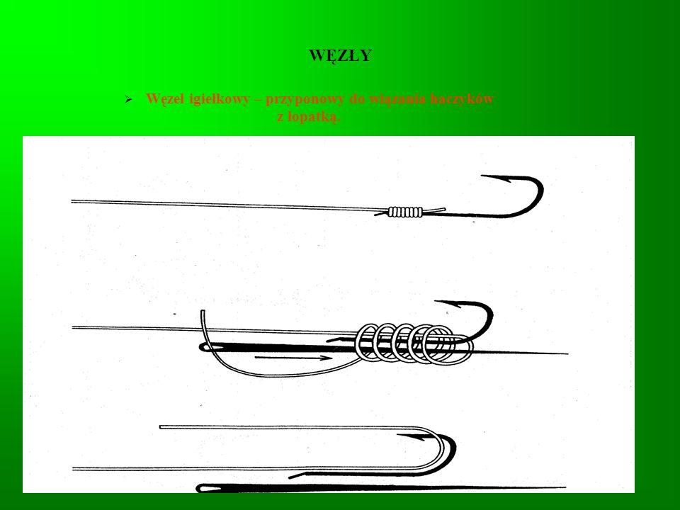 WĘZŁY Węzeł igiełkowy – przyponowy do wiązania haczyków z łopatką.