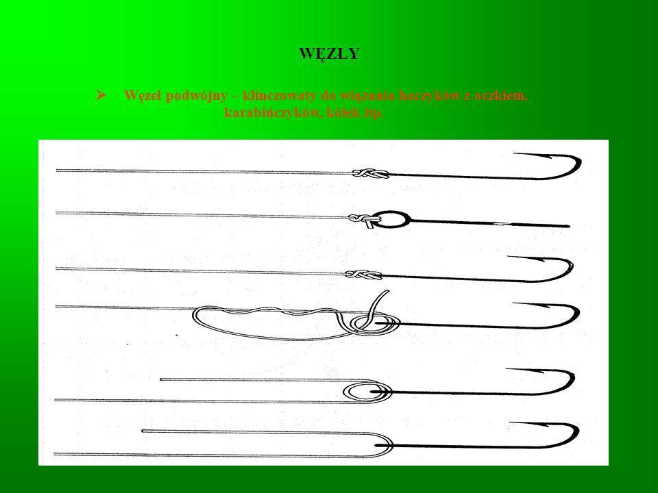 WĘZŁY Węzeł podwójny – klinczowaty do wiązania haczyków z oczkiem, karabińczyków, kółek itp.