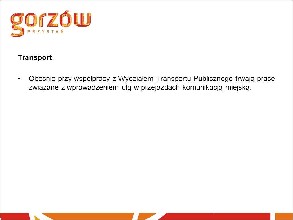 Transport Obecnie przy współpracy z Wydziałem Transportu Publicznego trwają prace związane z wprowadzeniem ulg w przejazdach komunikacją miejską.