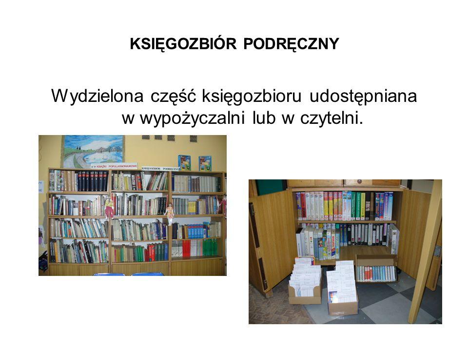WYDAWNICTWA INFORMACJI BEZPOŚREDNIEJ: W czytelni wydzielony jest księgozbiór podręczny zawierający: - słowniki do języka polskiego i obcych, - słowniki dziedzinowe, - encyklopedie ogólne i przedmiotowe, - leksykony, - albumy malarstwa, - itp.