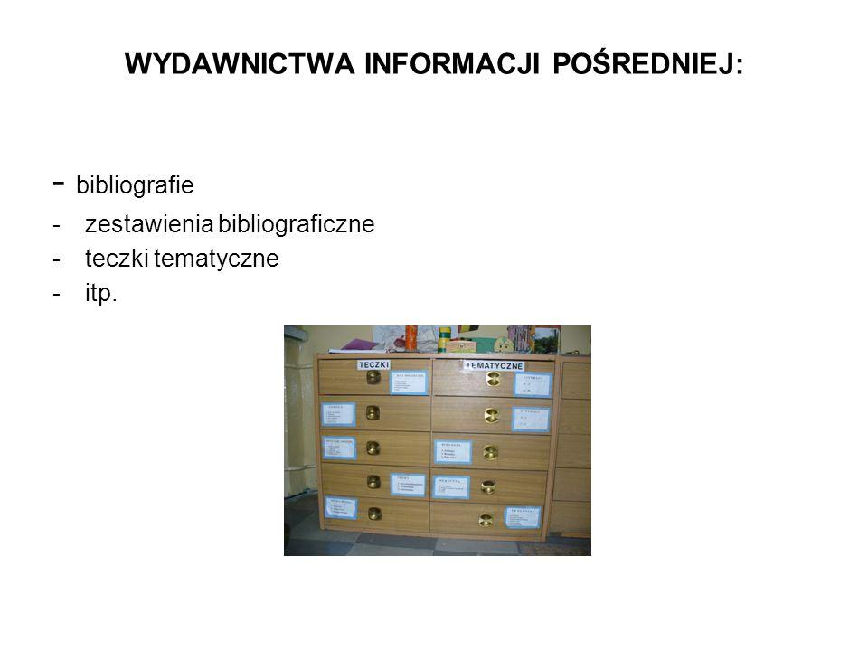 WYDAWNICTWA INFORMACJI POŚREDNIEJ: - bibliografie -zestawienia bibliograficzne -teczki tematyczne -itp.