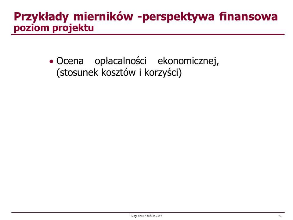 22 Magdalena Kalińska 2004 Przykłady mierników -perspektywa finansowa poziom projektu Ocena opłacalności ekonomicznej, (stosunek kosztów i korzyści)