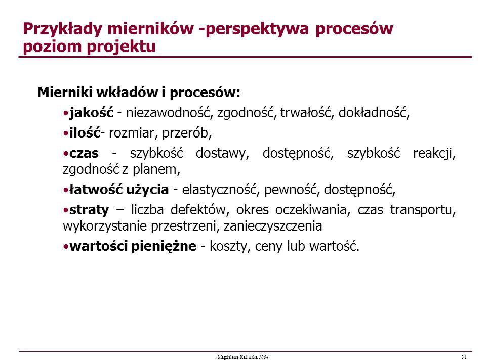 31 Magdalena Kalińska 2004 Przykłady mierników -perspektywa procesów poziom projektu Mierniki wkładów i procesów: jakość - niezawodność, zgodność, trw