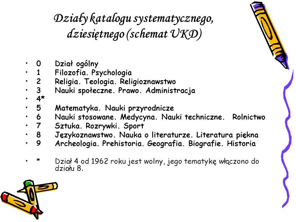 Działy katalogu systematycznego, dziesiętnego (schemat UKD) 0Dział ogólny 1Filozofia. Psychologia 2Religia. Teologia. Religioznawstwo 3Nauki społeczne