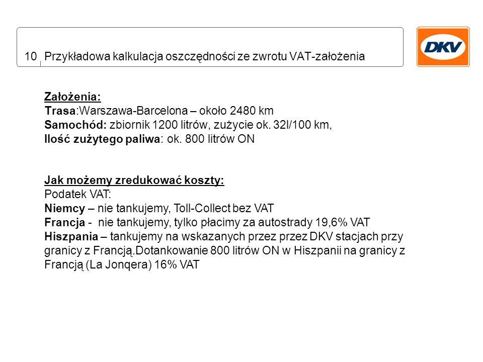 10 Przykładowa kalkulacja oszczędności ze zwrotu VAT-założenia Założenia: Trasa:Warszawa-Barcelona – około 2480 km Samochód: zbiornik 1200 litrów, zużycie ok.