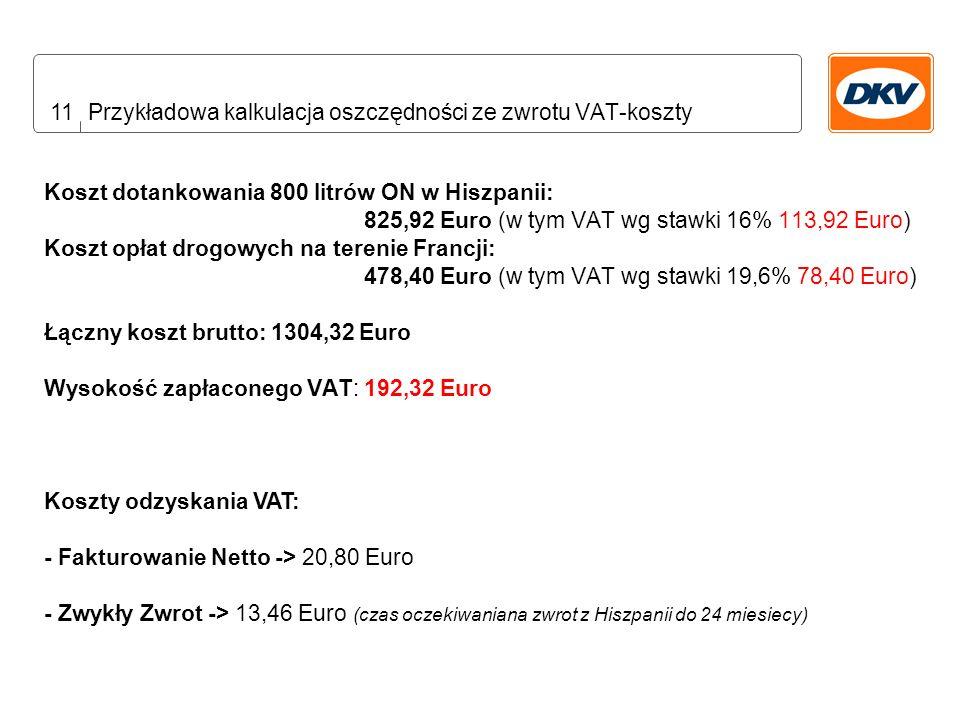 11 Przykładowa kalkulacja oszczędności ze zwrotu VAT-koszty Koszt dotankowania 800 litrów ON w Hiszpanii: 825,92 Euro (w tym VAT wg stawki 16% 113,92 Euro) Koszt opłat drogowych na terenie Francji: 478,40 Euro (w tym VAT wg stawki 19,6% 78,40 Euro) Łączny koszt brutto: 1304,32 Euro Wysokość zapłaconego VAT: 192,32 Euro Koszty odzyskania VAT: - Fakturowanie Netto -> 20,80 Euro - Zwykły Zwrot -> 13,46 Euro (czas oczekiwaniana zwrot z Hiszpanii do 24 miesiecy)