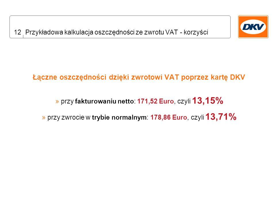 12 Przykładowa kalkulacja oszczędności ze zwrotu VAT - korzyści Łączne oszczędności dzięki zwrotowi VAT poprzez kartę DKV » przy fakturowaniu netto: 171,52 Euro, czyli 13,15% » przy zwrocie w trybie normalnym: 178,86 Euro, czyli 13,71%