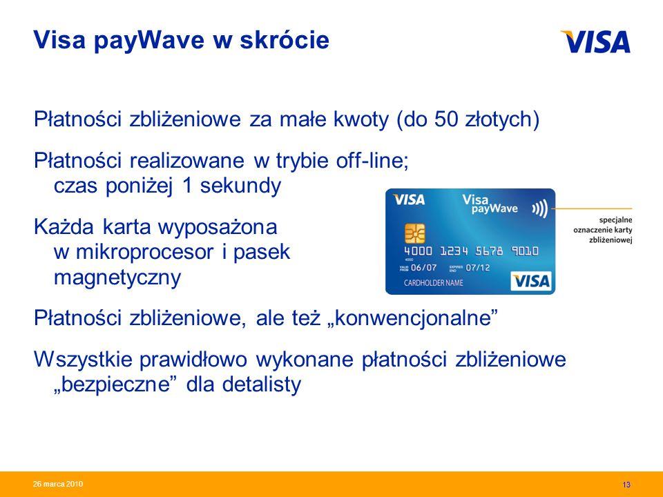 Presentation Identifier.13 Information Classification as Needed 13 26 marca 2010 Visa payWave w skrócie Płatności zbliżeniowe za małe kwoty (do 50 zło