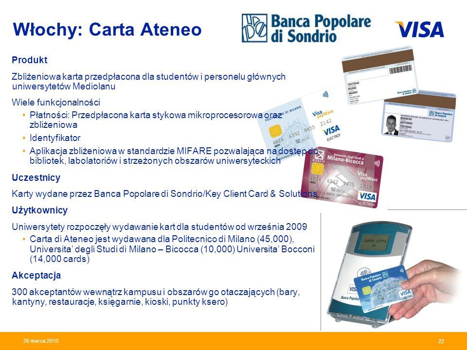 Presentation Identifier.22 Information Classification as Needed 22 26 marca 2010 Włochy: Carta Ateneo Produkt Zbliżeniowa karta przedpłacona dla stude